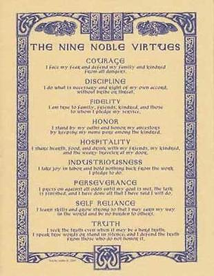 NINE NOBLE VIRTUES Parchment Page for Book of Shadows!