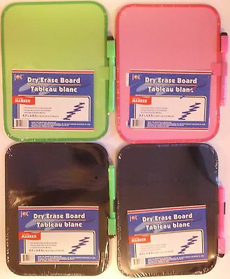 "COLORED DRY ERASE BOARDS W MARKER 6.5"" x 8.5"" SELECT: Black, Neon Green or Pink"