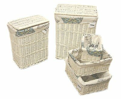Arpan White Wicker Laundry or Storage Hamper basket With Butterfly Cloth 5 Size