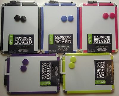 "MAGNETIC DRY ERASE BOARD W 2  MAGNETS & MARKER 8.5"" x 11"" SELECT: Color of Trim"