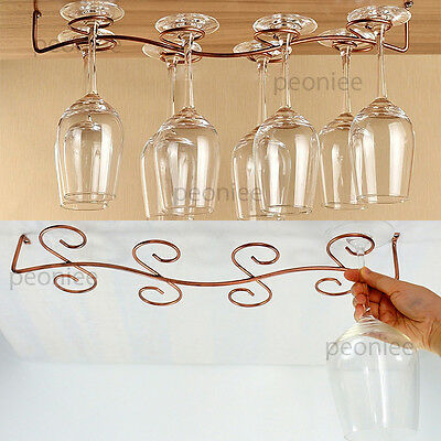 6/8 wine glass stemware rack hanging under cabinet holder incl screw bar kitchen