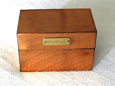 Vintage Solid Copper Recipe Box with Brass Plaque