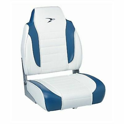 """Wise High Back Fold Down Boat Seat WD892PLS1713 White/Navy 22-1/2"""" H Marine MD"""