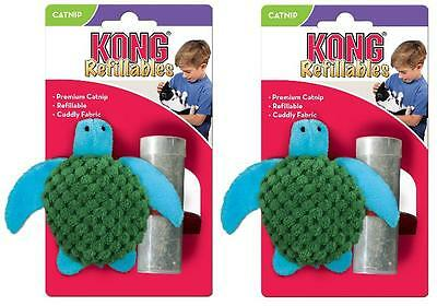 2 x Kong Catnip Turtle Refillable Cat Play Interactive Kitten Toys Teaser Soft
