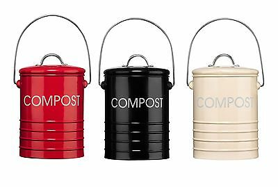 Compost Bins With Handle Garden Bucket Bin Waste Rubbish Galvanised Steel