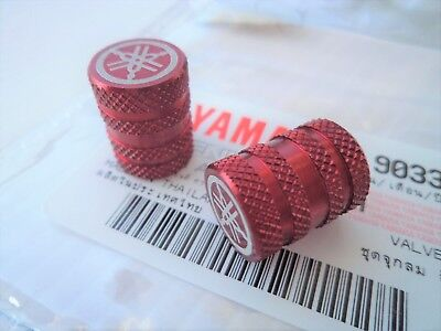 2 x Yamaha Tyre Wheel Dust Valve Caps Tuning Fork RED **GENUINE ACCESSORY**
