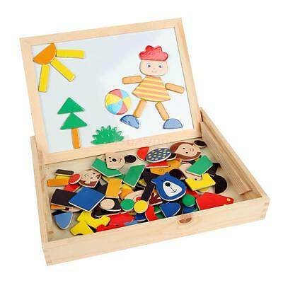 1 Set Wooden Cartoon Blocks+Box Kid Children Magnetic Drawing Board Puzzle Toy