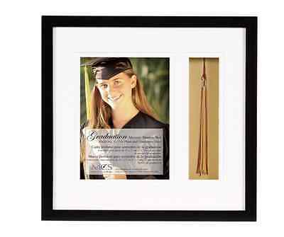 Graduation Photograph & Tassel 5x7 Inch Shadow Box Photo Picture Frame In Black