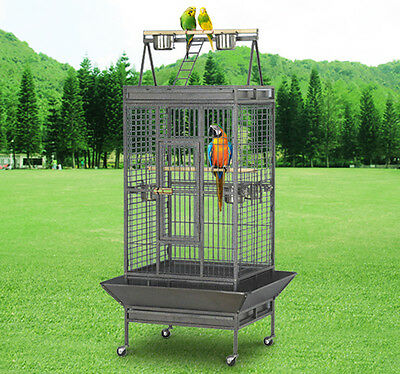 PawHut Parrot Cage Large Play Top Standing Aviary Coop Feeder Bowl Heavy Duty