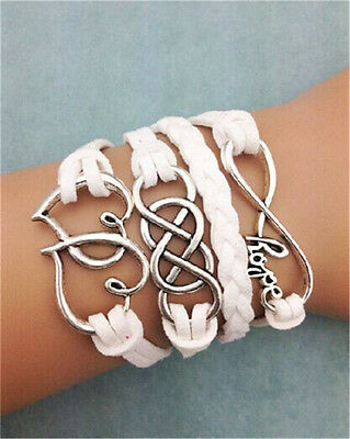 NEW Infinity Love Heart Friendship Leather Charm Bracelet Silver Cute
