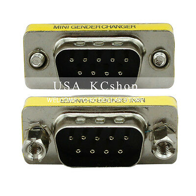 New DB9 RS-232 Male to Male Serial 9 Pin Gender Changer Coupler Cable Adapter
