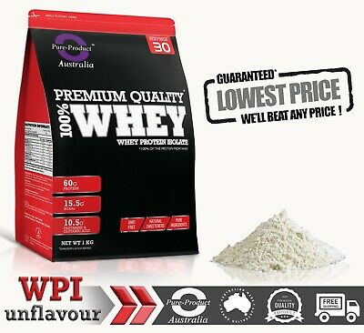 2KG 100% WHEY PROTEIN ISOLATE UNFLAVOURED - PURE NZ  GRASS-FED  WPI 2 x  1KG