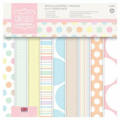 """Paper Capsule Papermania 6 """"x 6""""  Paper with Spots & Stripes Pastels Pack of 32"""