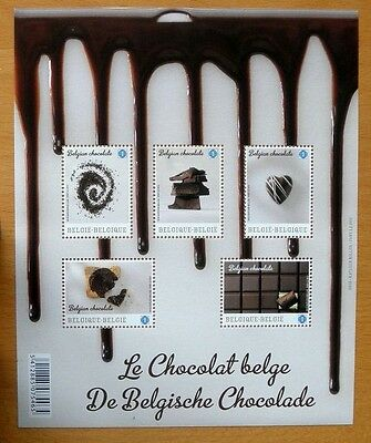 Belgium Stamp Sheet 5 Stamps Le Chocolat Belge First Chocolate Flavoured Stamps