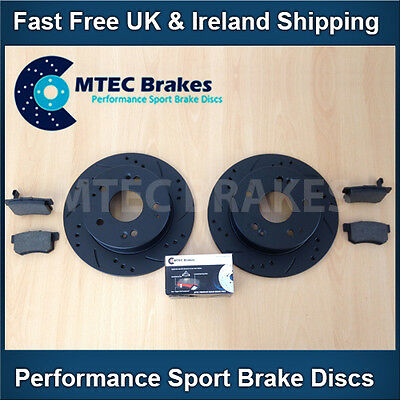X Type 2.0 2.0d 2.5 3.0 04-05 Rear Drilled Grooved Black Brake Discs MTEC Pads