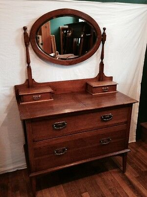Antique Arts and Crafts Oak Dressing Table Drawers with Mirror