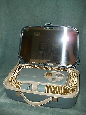 VTG 1960s LUGGAGE STYLE PORTABLE HAIR DRYER & MANICURE SET IN BABY BLUE SUITCASE