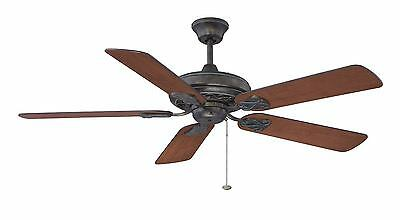 """Antique Verde Gold 52"""" Ceiling Fan With Walnut/Cherry Blades"""