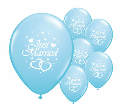 """8 Just Married Light Blue 12"""" Helium Quality Pearlised Wedding Balloons (Pa)"""