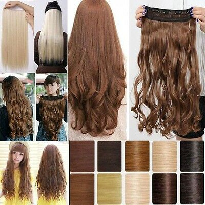 Fashion Clip in hair extension one piece 3/4 full head human synthetic made hair