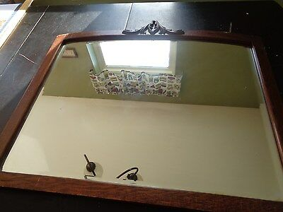 Rare Large Arts Crafts  Antique Wood Wall Mirror Beveled Glass Oak  Walnut 32X28