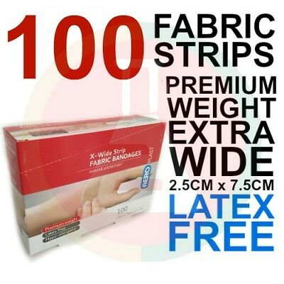 BANDAIDS FABRIC STRIPS EXTRA WIDE 100 PK Latex Free