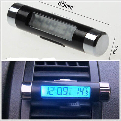 2in1 Auto Interior Air Vent Outlet LCD Backlight Thermometer Time Clock Display