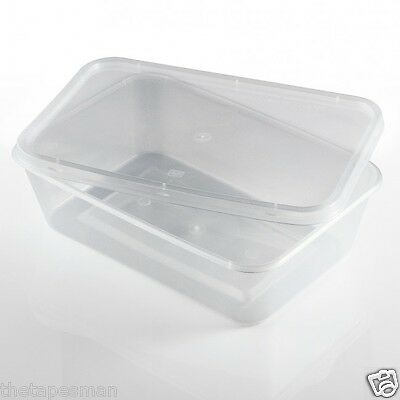 200 Pcs,100 Base + Lid: 500ml Disposable Plastic Rectangle Take Away Containers