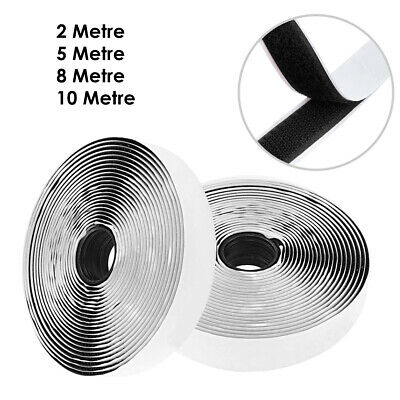 Black 1Metre 2M 5M Self Adhesive Sticky Strip Backed Tape Hook and Loop DIY