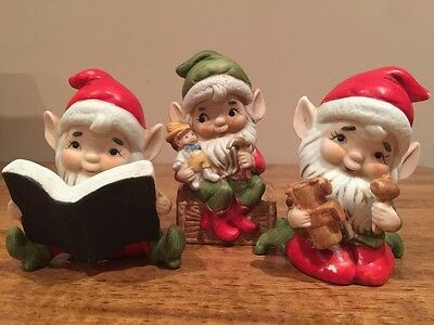 Vintage 1980s Homco Christmas Elves Pixie Figurines Complete Set of 3 No 5406