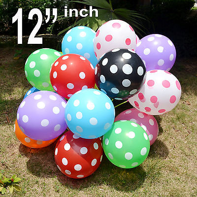 "12"" INCH 10-100 ☯Latex POLKA DOT Quality Party Birthday Wedding Balloons baloons"