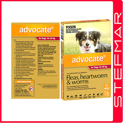 Advocate for Dogs 10-25Kg Large Red 6Pack EXP 04/19
