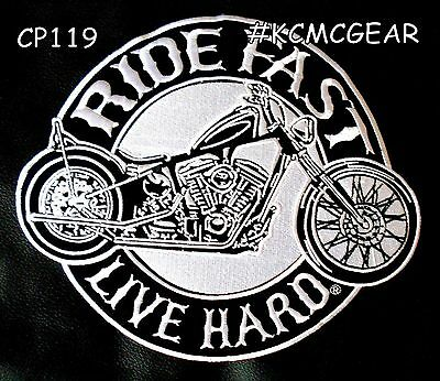 """RIDE FAST LIVE HARD for Biker Motorcycle Vests Jackets Military Back Patches 10"""""""