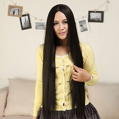 New Fashion Lady Full Long Straight Hair Wigs Cosplay Costume Party Black Wig