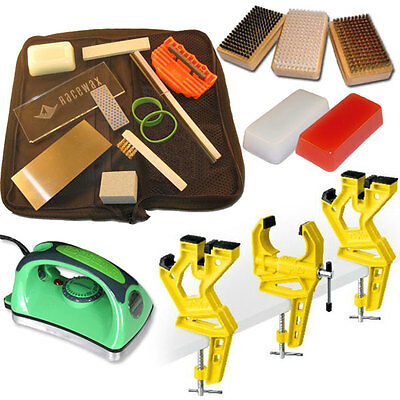 Super Ski Tune Kit with 3 Piece Vise, Iron, 3 Brushes, Tools, Wax
