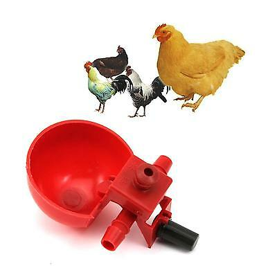 10x Red Plastic Backyard Poultry Automatic Water Bowl Chicken Duck Drinking Cup