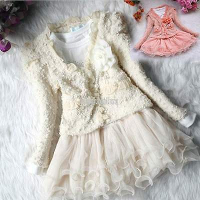 Christmas Kids Girls Lace Skirt Dress+Coat 2Pcs Set Party Tutu Dress Outfits