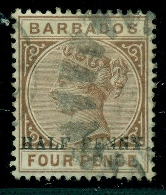 BARBADOS #69a, ½ p on 4p brown, NO HYPHEN variety, used, VF, Scott $40.00