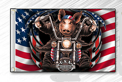 """Small Biker Flag  Hog Usa Approved Motorcycle Biker  5.25"""" X 9"""" Double Sided"""