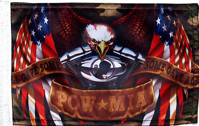 """Small Biker Flag  Eagle Some Gave All Motorcycle Biker 5.25"""" X 9"""" Double Sided"""