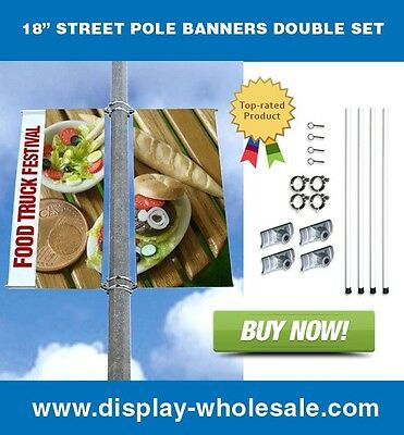 """Street Pole Banner Bracket 18"""" Double Set with (2) 18"""" x 24"""" Vinyl Banners"""
