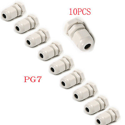10Pcs White PG7 Plastic Waterproof Wire Connector Cable Gland Range 3.5mm-6mm