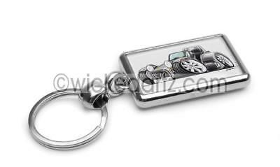 RetroArtz Cartoon Car Caterham Lotus Westfield Super 7 in Orange Metal Key Ring