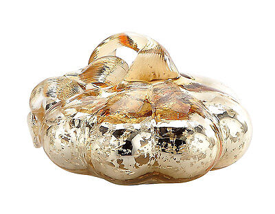 "New 4"" Hand Blown Art Glass Mercury Gold Pumpkin Sculpture Figurine Harvest Fall"