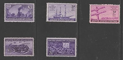 SC # 922-926 1944 Complete Year Set Of US Commemorative Stamps