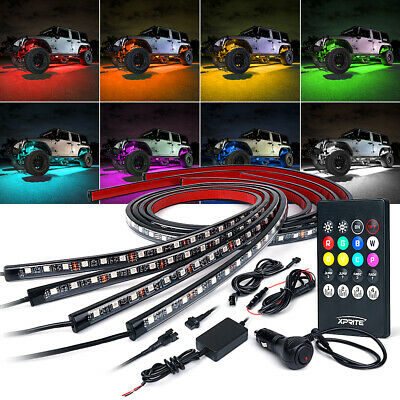 RGB 8 Color LED Car Remote Control Underglow Underbody System Lights Kit