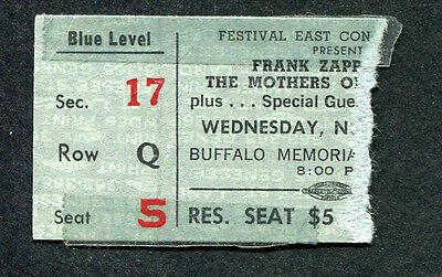 1973 Mothers of Invention Zappa concert ticket stub Buffalo Over Nite Sensation
