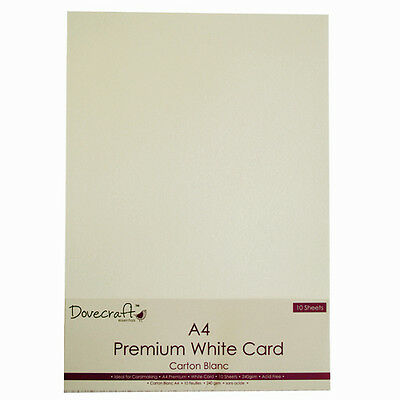 10 SHEETS OF DOVECRAFT PREMIUM A4 WHITE CARD, 240 gsm, CARD MAKING, SCRAPBOOK