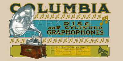 "24"" X 12"" Canvas Banner Ad for the Columbia Cylinder Graphophone"