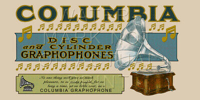 "24"" X 12"" Canvas Banner Ad for the Columbia Disc Graphophone"